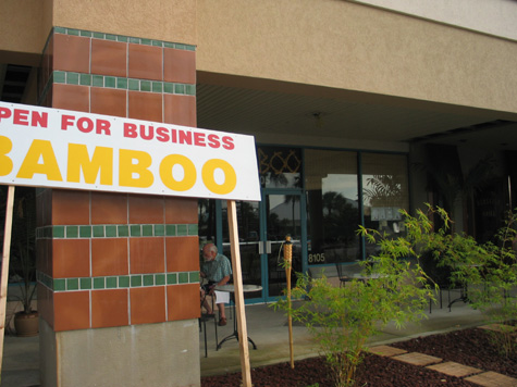 [picture: bamboo open for business sign]