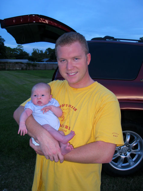[picture: Sarasota Slacker's founder, Wayne and his two-month-old daughter Emma]