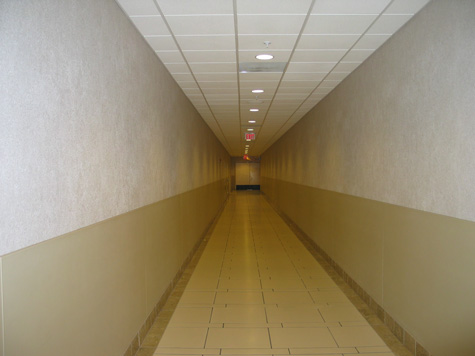 corridor to the washrooms at the International Plaza mall in Tampa