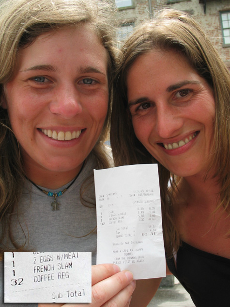 [picture: helen and heike hold up their denny's bill]