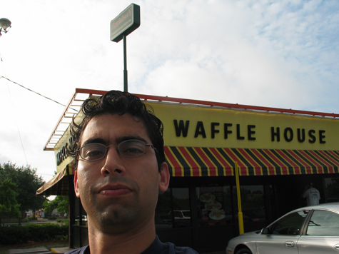 [picture: me in front of the Wafflehouse]