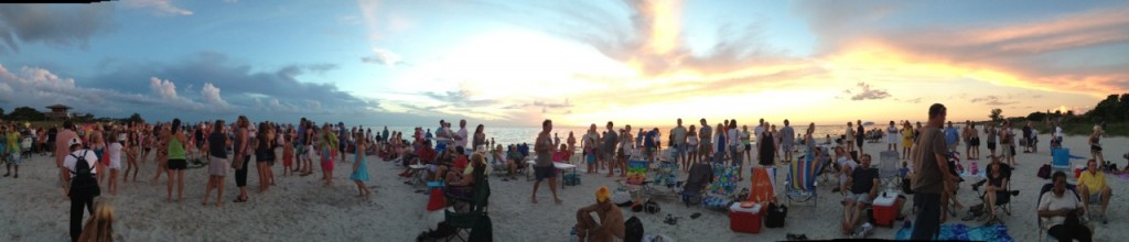 Casey Key Drum Circle pano
